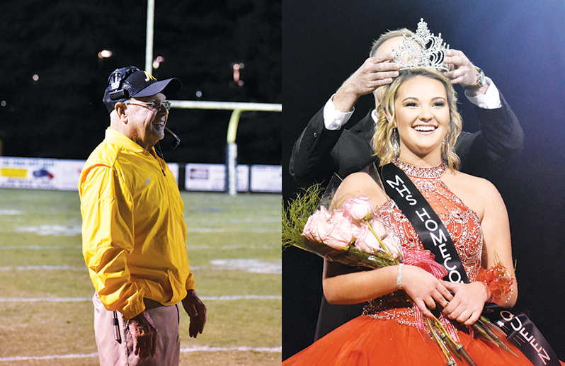 Murphy head football coach David Gentry matched North Carolina's all-time wins record Friday night, while senior Alyson Palmer was chosen as homecoming queen, shown here being crowned by Principal Jason Forrister.
