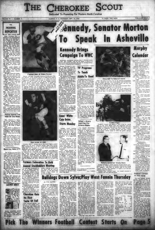 This is the front page of the Sept. 15, 1960, edition of the Cherokee Scout, which was 60 years ago this week.