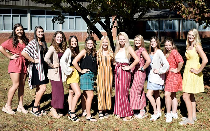 Members of Murphy's 2019 Homecoming court are (from left) Olivia Payne, Sarah Pullium, Chloe Decker, Jessica Sills, Jillian Clayton, Grace Hill, Taylor Ledford, Alyson Palmer, Stacei Howard, Brailey Barmore and Torin Rogers.