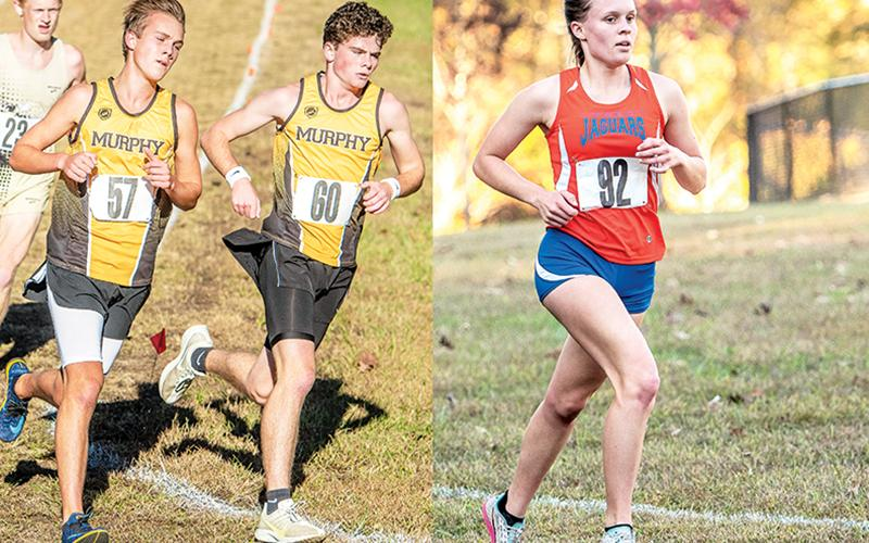 Left: Murphy's Caleb Jones (57) is the SMC boys champion, while Chase Pierce (60) finished third. Right: Tri-County's Sydney Bolyard was the SMC girls champion, finishing almost a minute ahead of the second-place finisher.