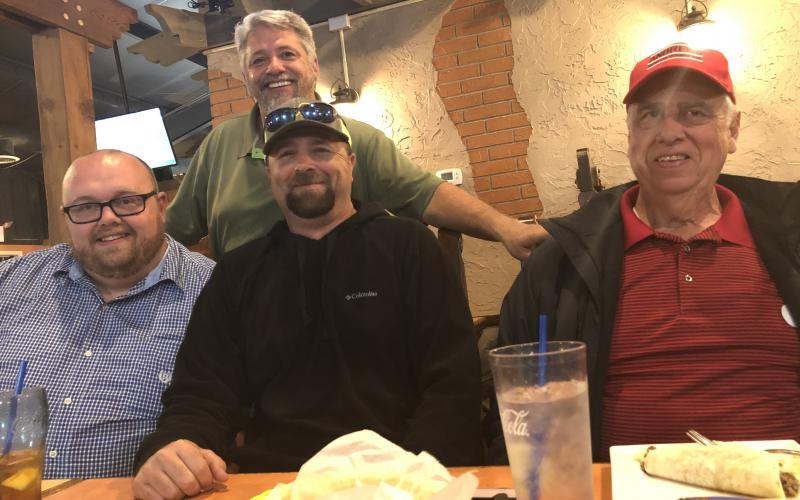 Jonathan Ellison (left) and Mike Sheidy (right) were elected to join the Board of Aldermen with Scott Stalcup (middle). Mayor James Reid joined them at Monte Alban on Tuesday night.