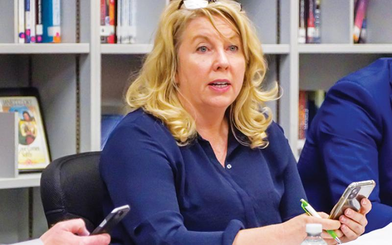 Cherokee County Schools Superintendent Jeana Conley proposed Thursday that the school board consider a long-range plan that would reduce the number of campuses to one high school and three elementary/middle schools, in addition to the Schools of Innovation. Photo by Sam Jokich