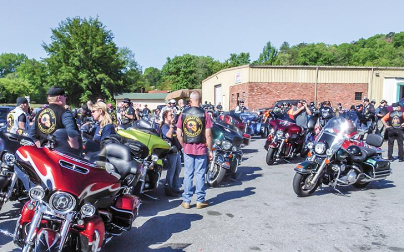 More than 200 motorcyclists took part in the ride to brighten Danner's day, starting at Hot Spot in Ranger. Photo by Sam Jokich