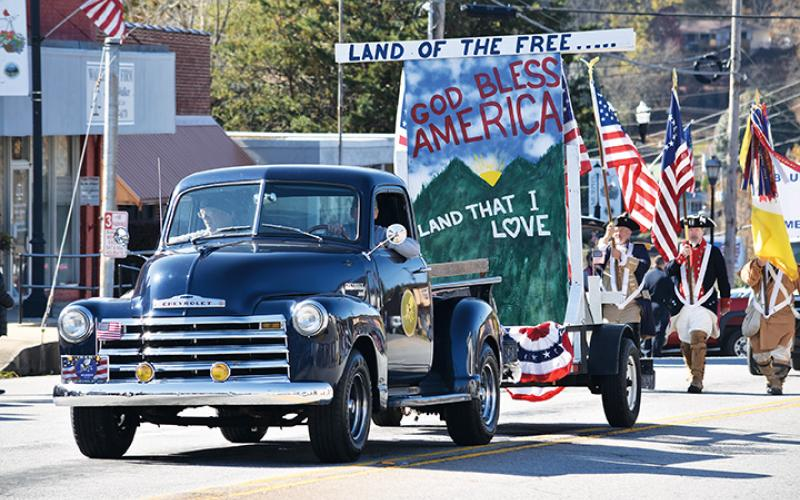 This patriotic float was on display during the 2019 Veterans Day Parade in downtown Murphy. The parade will move to Andrews this year if plans hold.