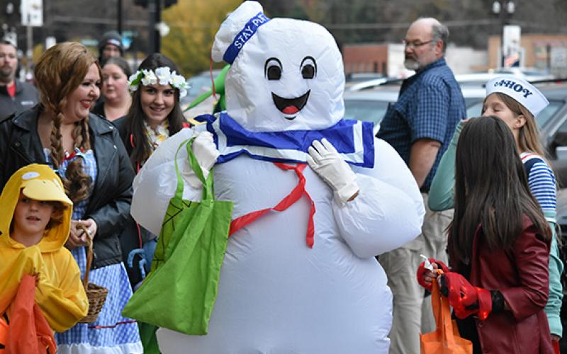 The Stay Puft Marshmallow Man from the movie Ghostbusters made an appearance in downtown Murphy during Halloween last year, though Dallas McMillan of Unaka didn't quite know what to think as he walked by.
