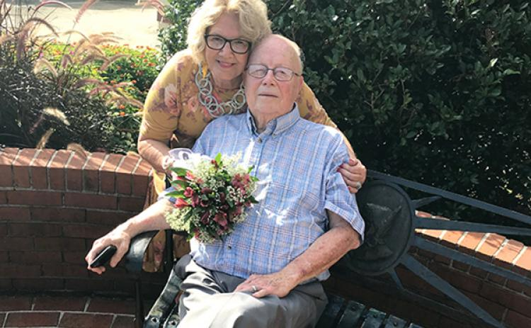 Jerry Basinger and Linda Dabbs were happily married in the middle of downtown Murphy on Thursday evening.