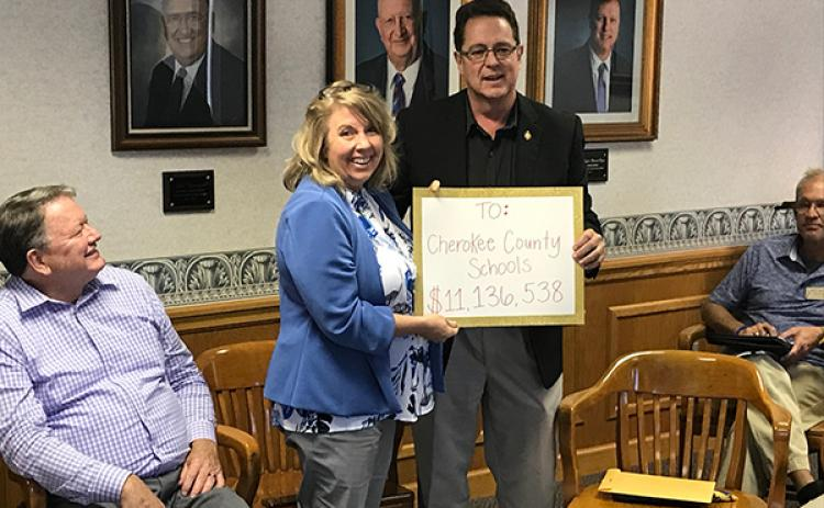 N.C. Rep. Kevin Corbin pledges $11 million worth of support to Superintendent Jeana Conley on Friday.