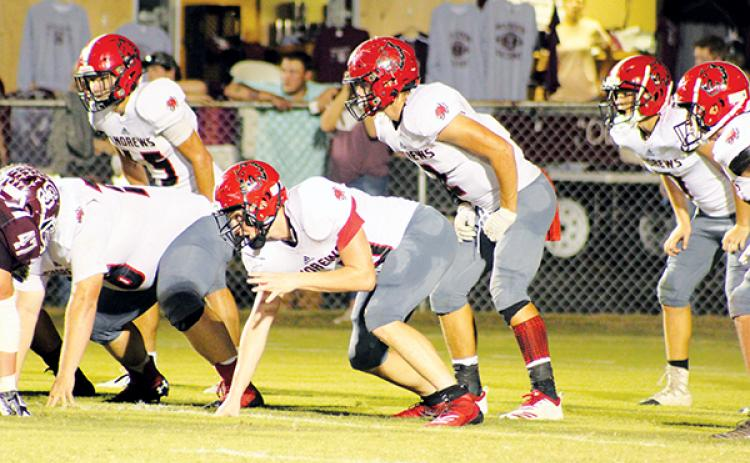 Samuel Wood and the Andrews defense lines up against Swain County on Friday. Photo by Mary White