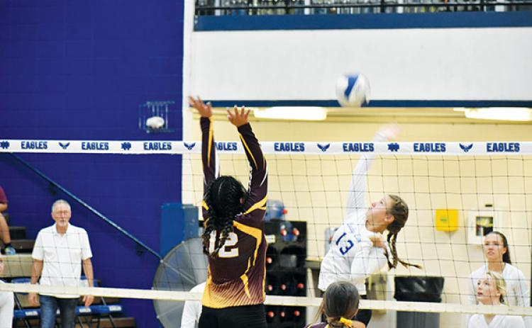 Hiwassee Dam's Dezeray Adams goes for a spike in the Lady Eagles' victory against the Cherokee Lady Braves.