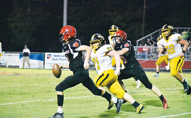 Andrews' Tucker Holloway takes off a long run that ended at Murphy's 1-yard line Friday night. Photo by Noah Shatzer
