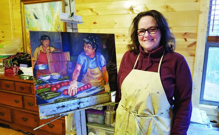 "In her home studio, Cynthia Pollett shows ""Tomato Cooks,"" one of her paintings of daily life in China. Photo by Samantha Sinclair"