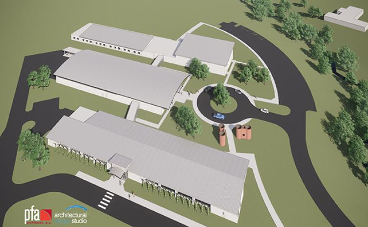 PFA Architects Architectural Design Studio presented designs for the new school in Peachtree, which would house the alternative school for both middle and high school students (now called The Oaks Academy), a new career and technical education school, and Tri-County Early College High School.