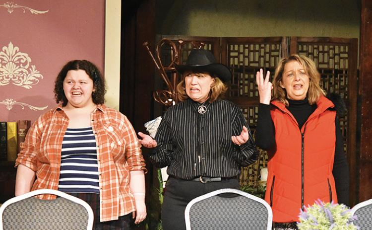 Ryvers Stewart, Ann Williams and Terry Gribble as the Verdeen cousins – Gaynelle, Jimmy Wyvette and Peaches – express their disappointment in meeting the third lady of Texas in the play Rex's Exes. Photo by Samantha Sinclair