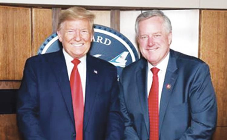 U.S. Rep. Mark Meadows (R-N.C.) meets with President Donald Trump on March 2.