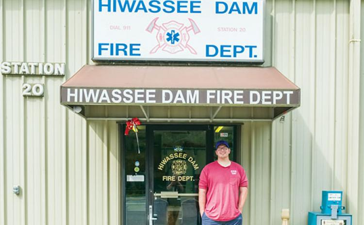 Gabe Stark and watchdog Kobe were manning the Hiwassee Dam Volunteer Fire Department last week. The department is acquiring 2.79 acres of county-owned property.