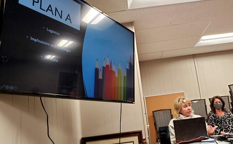 Cherokee County Schools Superintendent Jeana Conley explains to the Cherokee County Board of Education what she and her staff considered as they developed reccomendations on moving elementary school students to Plan A. Photo by Samantha Sinclair